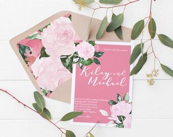 Floral Flower Pink Wedding Invitation Deposit