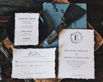 Handmade deckle edge paper (not torn) Simple Floral Wreath Monogram Wedding Invitation