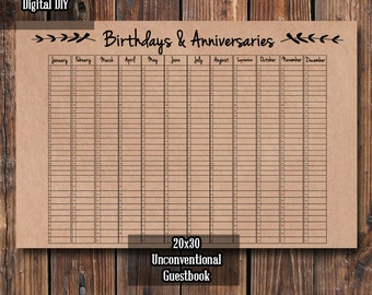 Birthday calendar etsy unconventional guestbook diy birthday and anniversary guestbook wedding guestbook print it yourself solutioingenieria Images