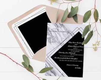Geometric Marble Wedding Invitation Deposit