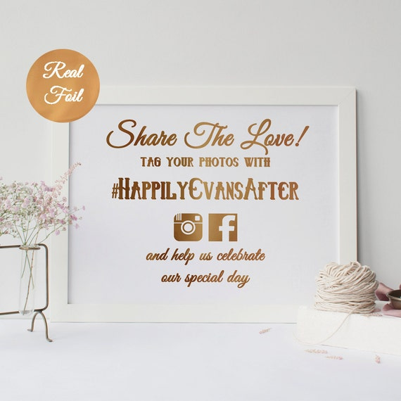 Items Similar To Real Foil Wedding Hashtag Sign On Etsy
