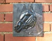 Metal Horse Wall Art Plaque, Horse Gifts, Cast Iron Horse Wall Decor, French Vintage, Horse Head, Horse Room Decor