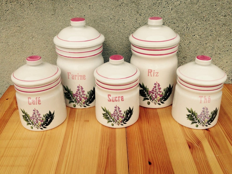 French Vintage Kitchen Canisters Canister Set Kitchen Storage Canisters Pink Kitchen Decor Retro Canisters Pink Canisters
