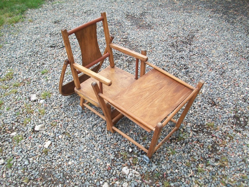 FREE SHIPPING Baby Chair or Tall Chair  Low Chair Combo French Vintage High Chair Mid Century Window Display or Shop Display Item