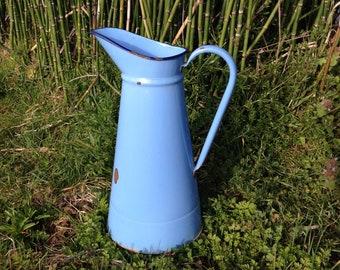Pitcher, Enamel pitcher, Water Pitcher, French Enamelware, Antique French Enamel Water Pitcher, Home decor, Garden Decor