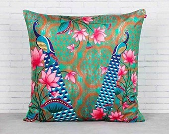 Lotus Indian beauty cushion cover 18' × 18'