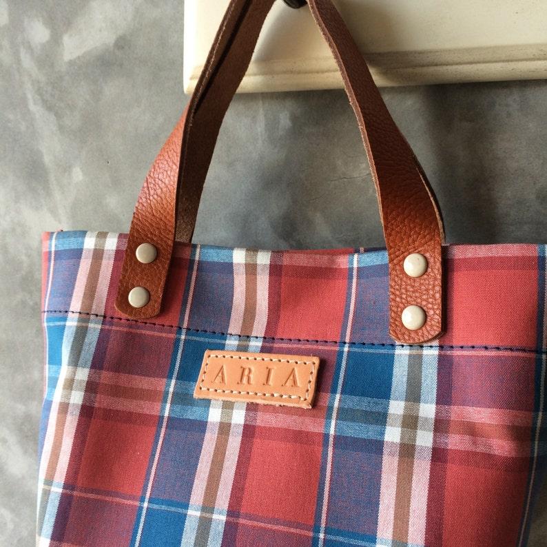 Mini Tote Bag Red Barn Yarn Dye Woven Fabric Etsy