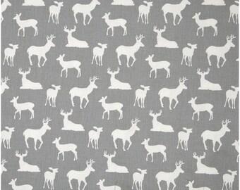 1/2 Yard Gray and White Deer Fabric - Premier Prints Storm and White Twill Deer Fabric HALF YARD