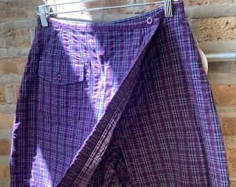 Vintage purple plaid sparkle shorts  rainbow plaid adjustanble cotton long lightweight shorts  rare purple plaid gold shorts