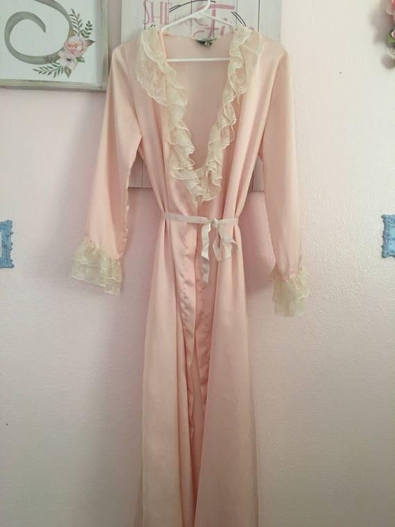 Vintage Lace & Satin Robe I Magnin - image 1