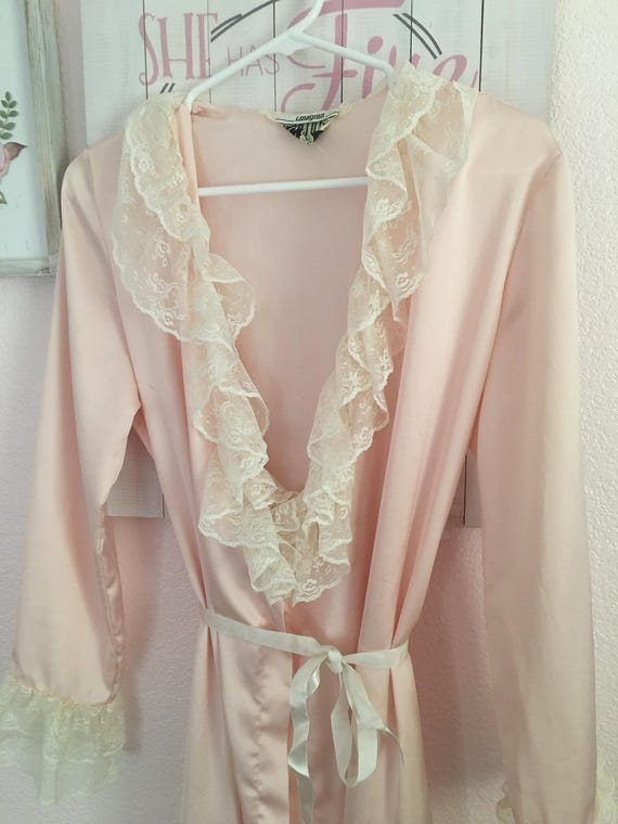 Vintage Lace & Satin Robe I Magnin - image 2