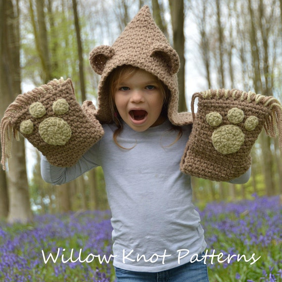 Crochet Pattern The Bramble Bear Hooded Scarf Toddler Etsy