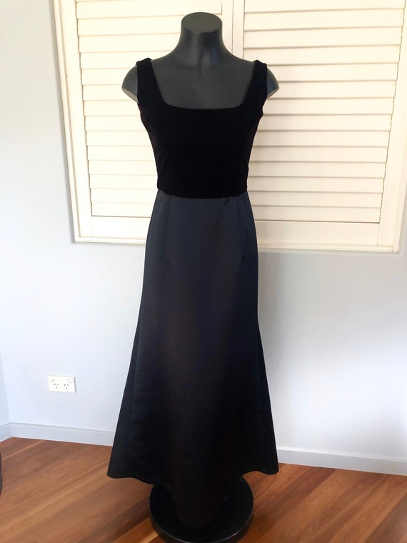 Vintage Black Velvet and Satin 80s Evening Gown