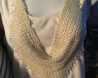 Fabulous Ivory and Cut Crystal Scarf