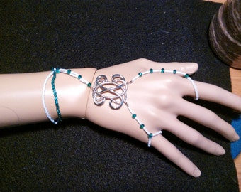 Snow White & Teal Seed, Iridescent Teal Crystals Roman Slave Bracelet