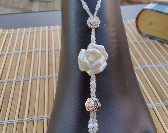 Iridescent Clear Seed, Snow White Pearls & Crystal Rose Barefoot Sandals