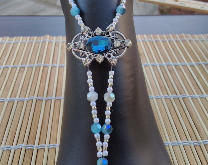 Brilliant Silver Seed, & Snow White and  Bright Blue Cut Crystals Barefoot Sandals