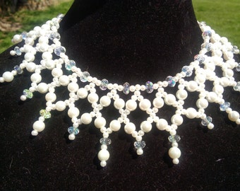 Stunning Pearl with Swarovski Crystal Necklace