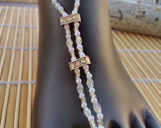 Crystals, Rhinestones, Seed Beads and  Pearls  Barefoot Sandals