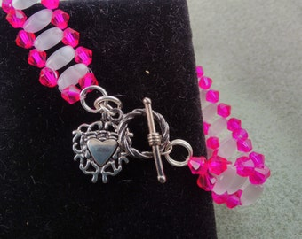 Neon Pink Crystals and Translucent Pearl Crystal Bracelet