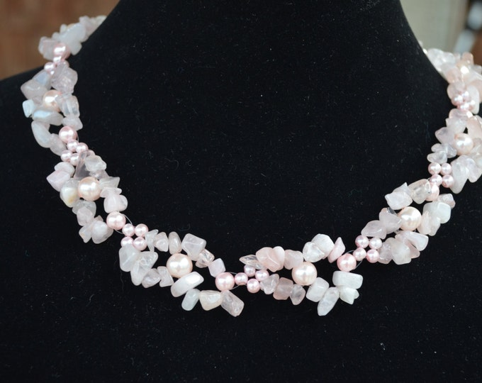 Beautiful natural color necklace made with glass beads and rocks