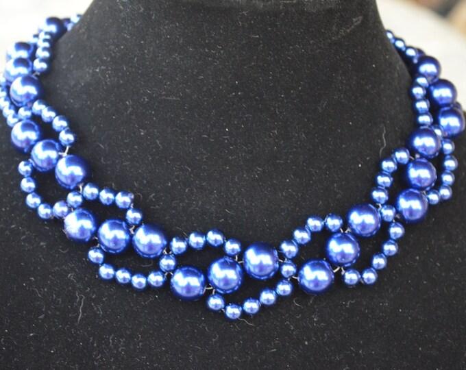 Beautiful handmade blue iridiscent pearl necklace