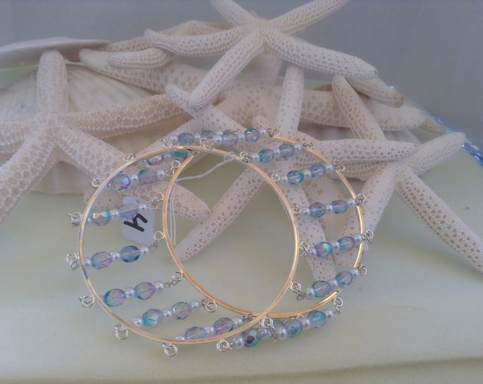 """8"""" Unique Double Bangle With Cut Color Crystals & Pearls"""