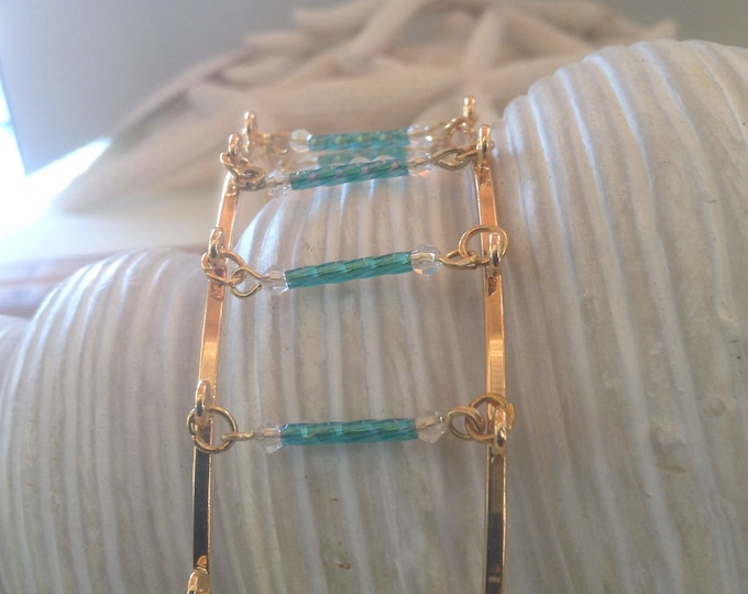 """8"""" Unique Double Bangle Sky Blue Bugles Gold plated"""