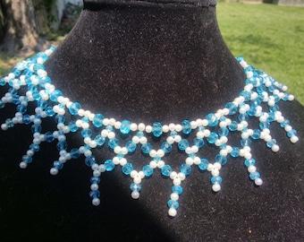 Brilliant Blue Swarovski Crysta with Pearlsl Necklace
