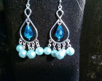 Blue Pearl & Swarovski Teardrop Crystal Earrings