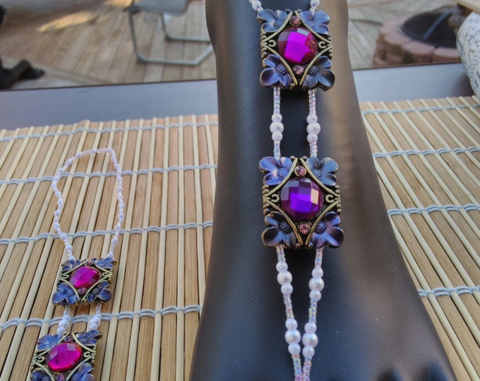 Royal Purple Double Focal With Snow White Pearls and Crystal Seeds Barefoot Sandals