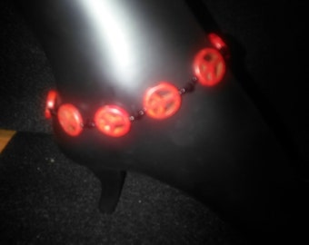 Stone Red Peace beads with Black seed and Swarovski Black Crystals Anklets - all my 50/60/70's children!