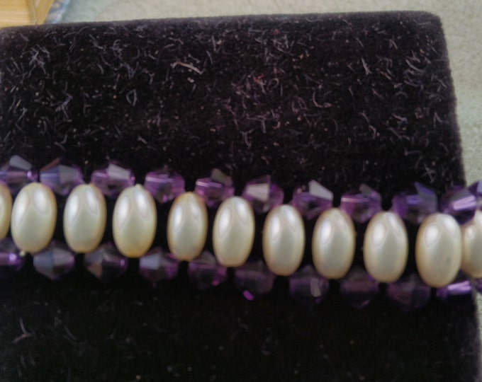 Pearl and Purple Crystal Bracelet