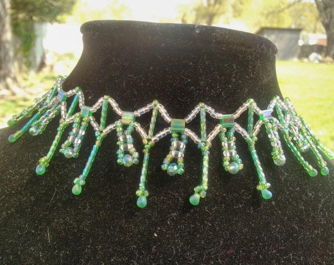 Beautiful Emerald Tila necklace
