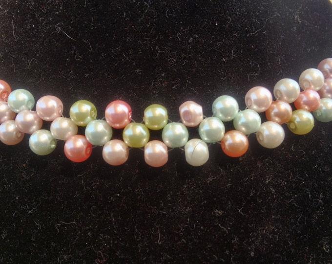 Beautiful Pastel pearl handmade necklace