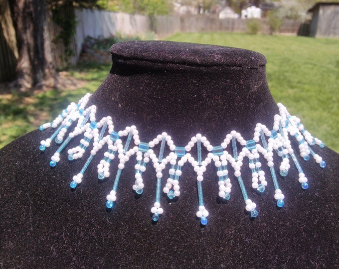 Beautiful Pearl and Blue Tila necklace