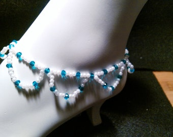 Pearl and deep Teal cut crystal anklet