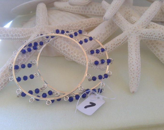 """7"""" Unique Silver Double Bangle With Cobalt Blue & Clear cut crystal"""