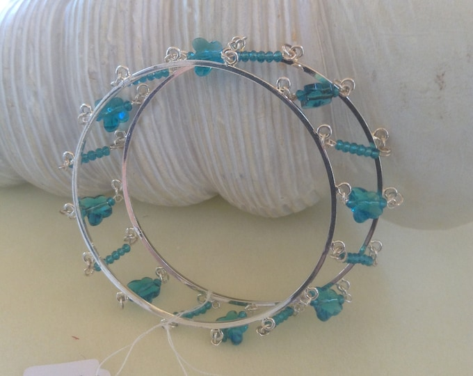 """8"""" Unique Double Bangle With Blue Butterfly focal's"""