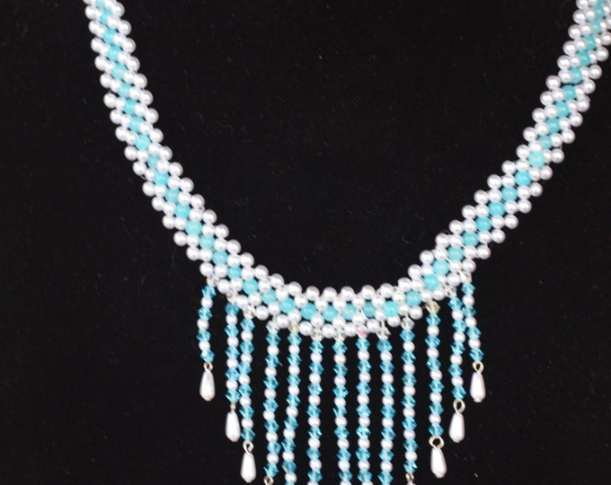 Beautiful glass seeds waterfall necklace blue and white