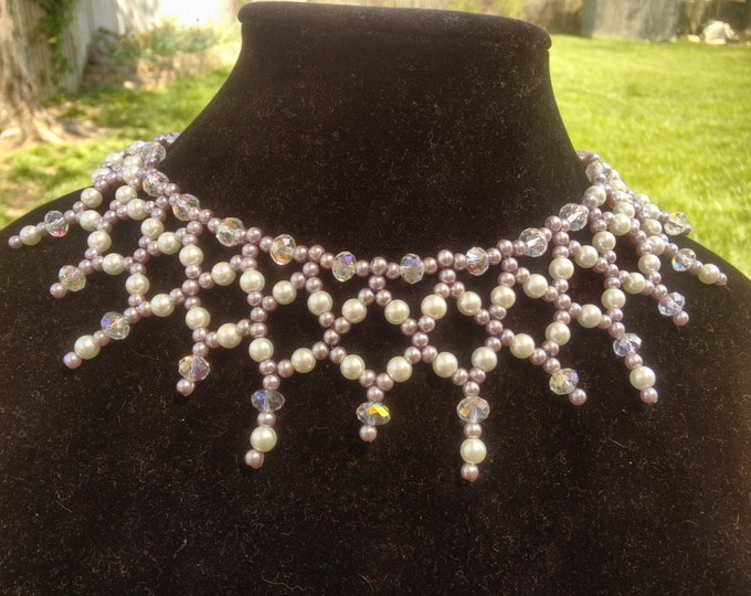 Stunning Purple and White Pearls with cut crystals Necklace