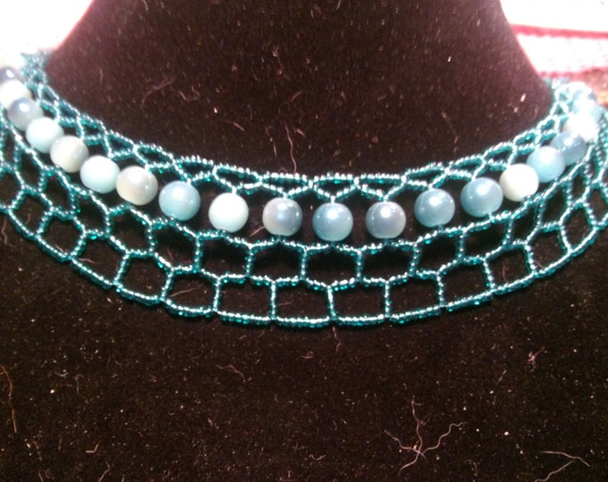 Fabulous Emerald and Iridescent Pearls Necklace