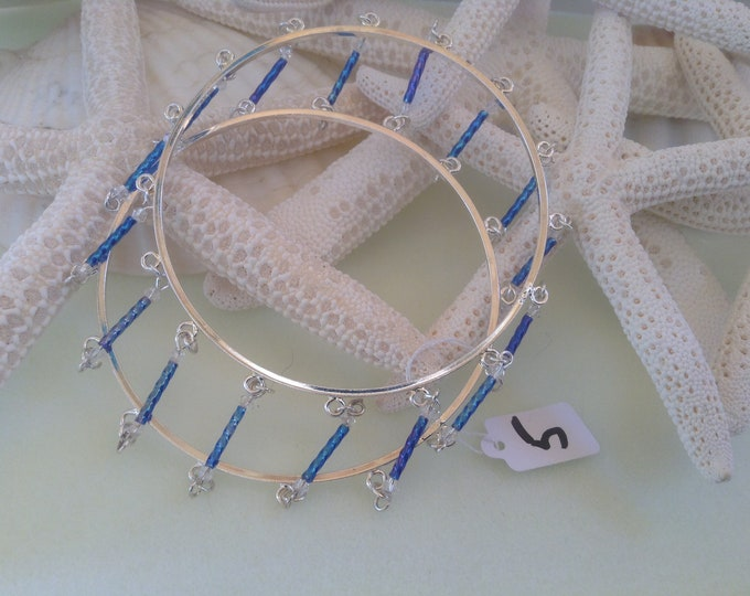 """8"""" Unique Silver Double Bangle With Blue Bugle beads"""