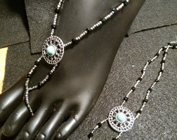 Silver Seed, Iridescent Black Crystals Barefoot Sandals