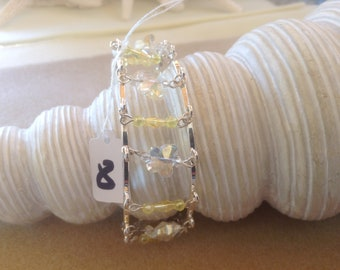 """7"""" Unique Silver Double Bangle With Clear cut crystal butterflies"""