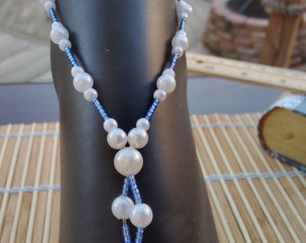 Vivid Blue Seed, & Snow White Pearls Barefoot Sandals