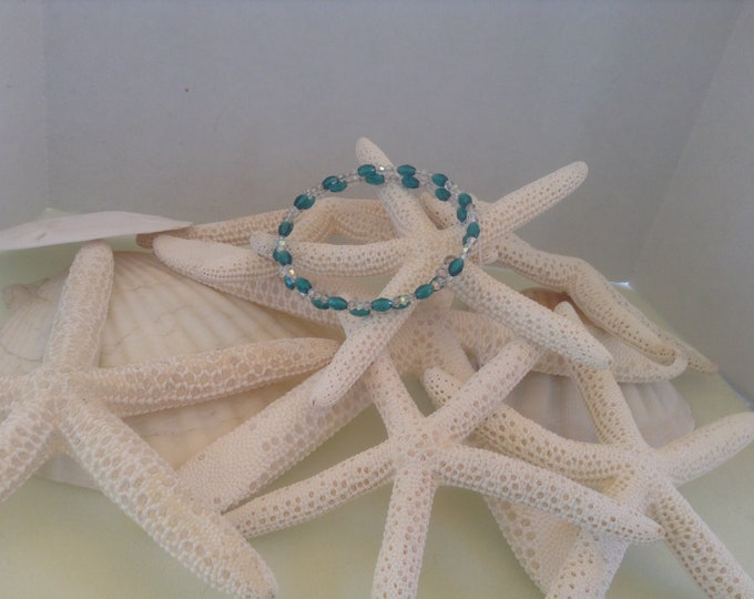 Teal blue and Clear  memory wire Bracelet