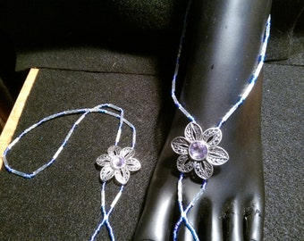 XL Purple Seed, Iridescent Clear Bugle Barefoot Sandals