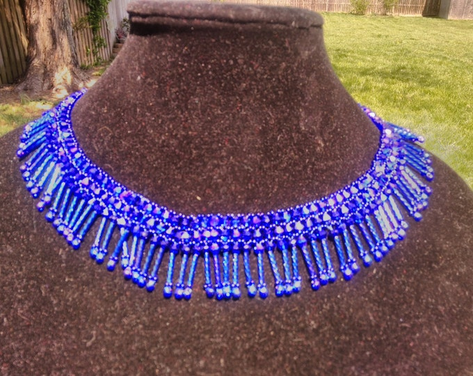 Exceptional Bugle, Fringe, Bicone and Seed Bead necklace