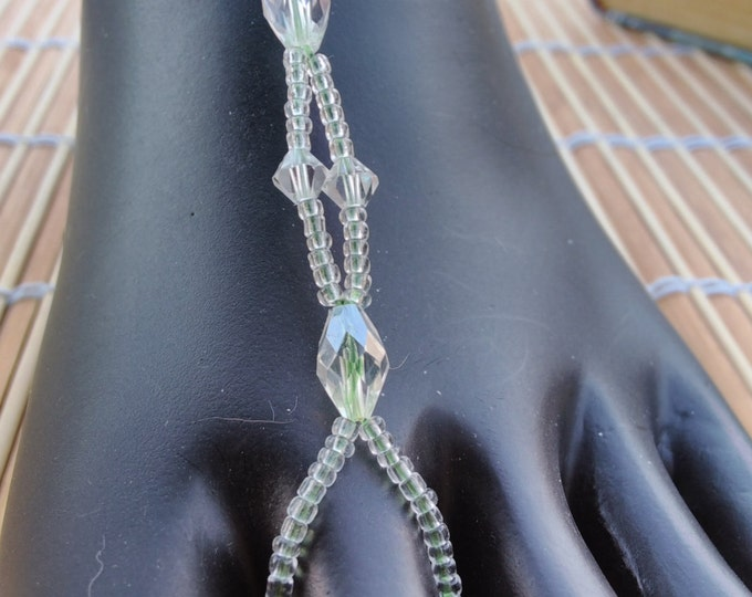 Green/Yellow tint crystals Barefoot Sandals